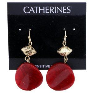 3/$20 Catherines red and gold dangle earrings